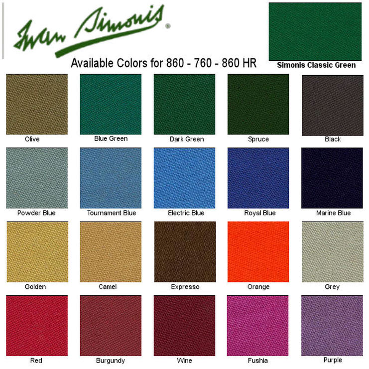 Iwan Simonis Felt Colors - Affordable Billiard Service, Inc.